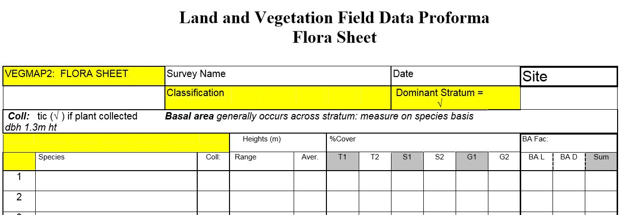 Land and Vegetation Field Data Proforma (Flora Sheet)