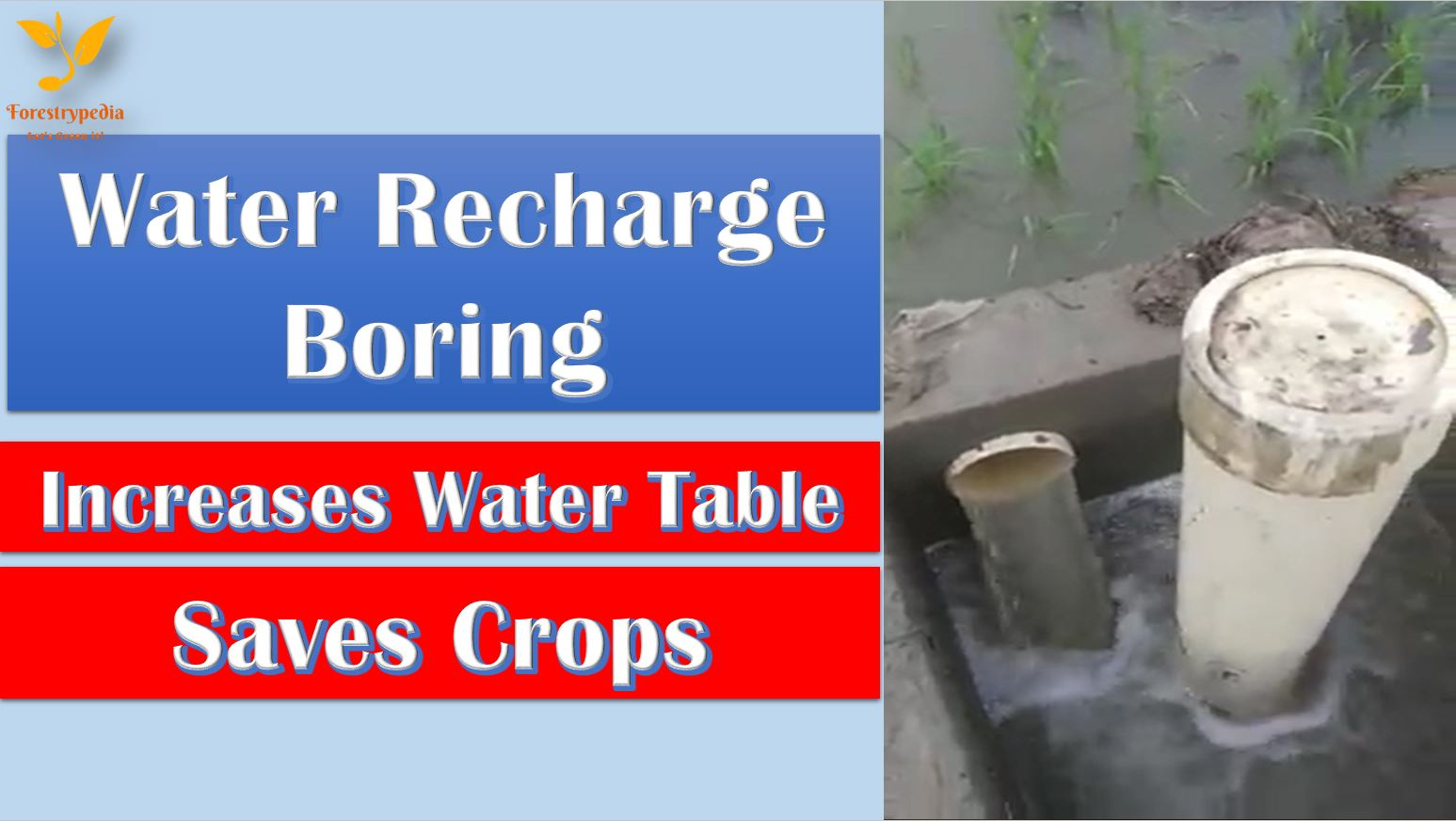 Water Recharge Boring - Saving Crops and Increasing Water Table - forestrypedia.com